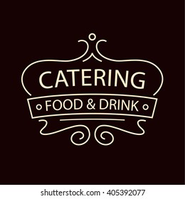 Vector logo for catering restaurant cafe. Illustration for premium catering menu on dark red background.