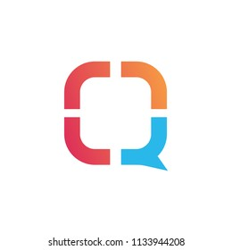vector logo chat blue red color box