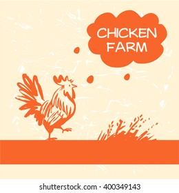 Vector logo. Chicken and hen farm. Products from chicken meat and eggs. Hand drawn silhouette illustration rooster orange color.