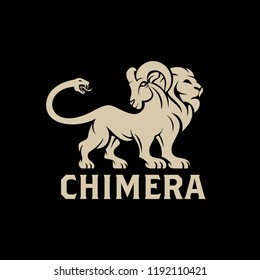Vector logo of Chimera, a lion monster with the head of a goat arising from its back and a snake's head as the tail