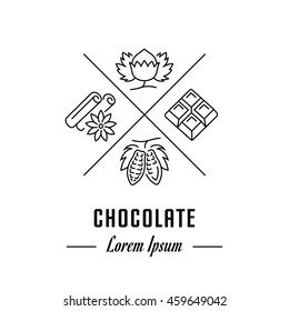 Vector logo chocolate. Hipster emblem, label or banner for company. Line sign with elements. Concept brand.