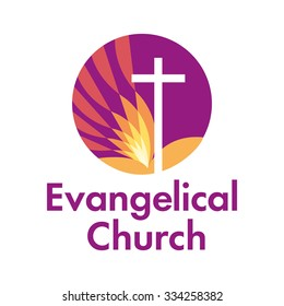 Vector logo Christian symbol of the cross and the Bible for church or The Christian ministry.