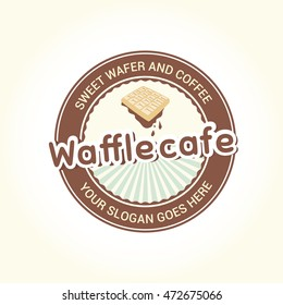 Vector logo in the circle with the image of the viennese wafer. Can be used as logo template for waffle cafe.