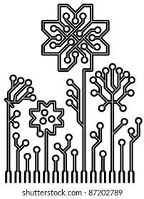 vector logo circuit board flowers