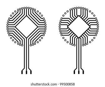 vector logo circuit tree
