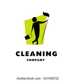 Vector logo for cleaning company. Flat cleaning service insignia. Simple cleaning logo icon with man silhouette isolated on white background.