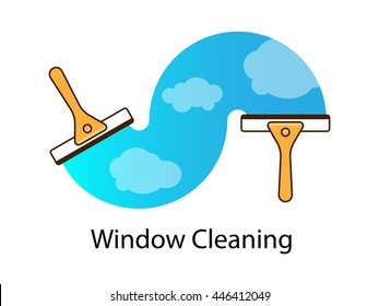 Vector logo, cleaning services. Hand with squeegee cleaning windows.  Line art.