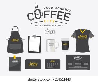 Vector logo coffee city restaurant set, T-Shirt, menu, name card and free symbol design.