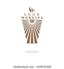 Vector logo for coffee shop. Logo design in the form of a coffee paper Cup. The sun, good morning