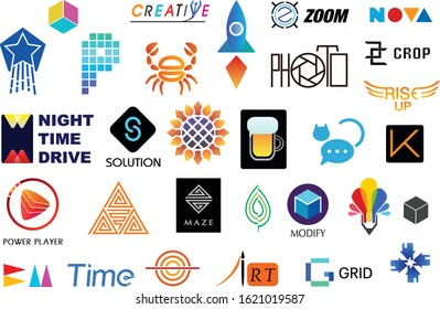 vector logo collection for editing and using, in different stiles and colors