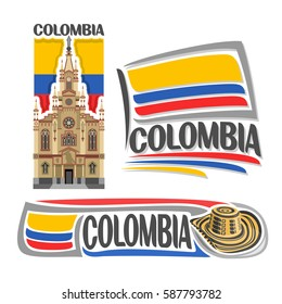 Vector logo Colombia, 3 isolated images: Jesus Nazareno church in Medellin on background colombian national state flag, symbol of Colombian Republic - hat sombrero vueltiao, flags of colombia country.
