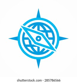 Vector logo combination of a compass and earth