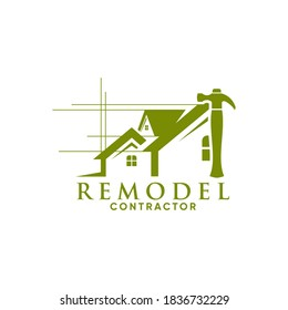 Vector logo combining house shapes and carpentry tools
