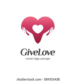 Vector logo concept for charity. Give Love