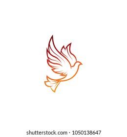 Vector logo concept illustration. Bird logo. Dove logo. Abstract lines Design element. Bird Shield Logo Design.
