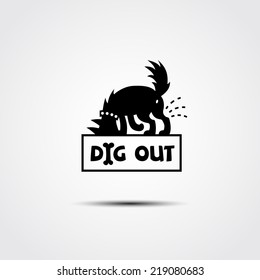 vector logo with the contour of a dog digging a hole in search of bones