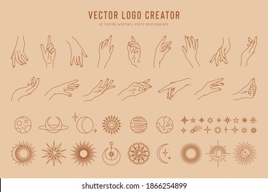 Vector logo creator of linear hand gestures, moon phases, stars, sun and planets. Design elements set isolated on pastel background, minimal design, monochrome colors.