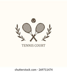 Vector logo. Crossed tennis rackets with a ball on a white background.