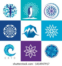 Vector logo for cryotherapy. concept for Spa freeze technology. Vector Set of Body freeze Icons.
