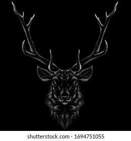The Vector logo deer for T-shirt print  design or outwear.  Hunting style deer background. This drawing would be nice to make on the black fabric or canvas