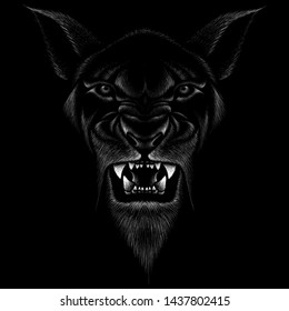 The Vector logo Demon or Devil goat  for tattoo or T-shirt design or outwear.  Cute print style Demon cat or Devil goat  background.