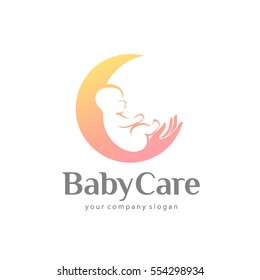 Vector logo design of baby care, motherhood and childbearing