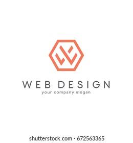 Vector logo design for business. Letter W