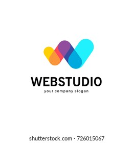 Vector logo design for business. W letter