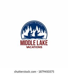 Vector logo design for canoe tour on the lake.