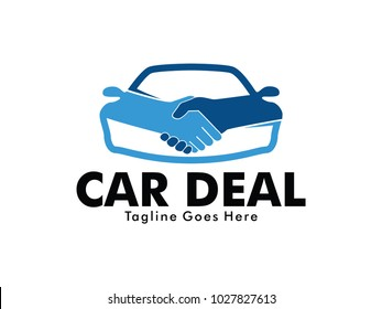 vector logo design of car dealer technology business deal marketing and auto shop service and technology business partnership
