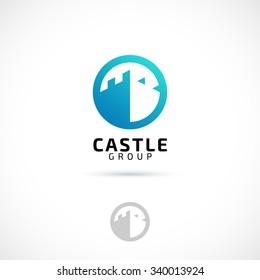 Vector logo design, castle in circle symbol icon. Logotype template.