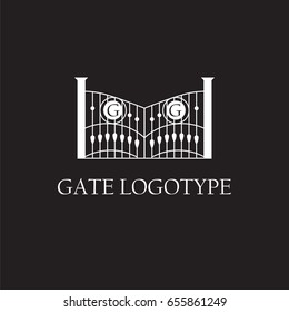 Vector logo design for company with gate illustration and place for monogram letters, Business Card Template, icon design