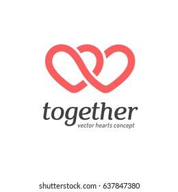 Vector logo design concept. Hearts icon