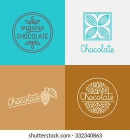 Vector logo design concepts and templates in trendy linear style for chocolate packaging