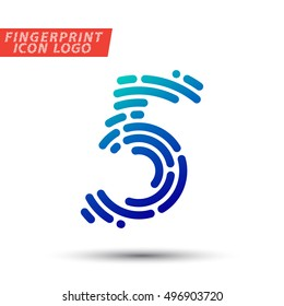 Vector logo design element, abstract information and identification fingerprint number 5 color icon