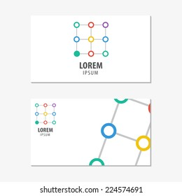 Vector logo design element with business card template. Net, chain, assistance.
