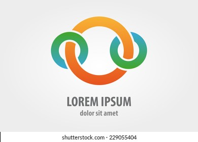 Vector logo design element with business card template on white background. Circle, ring
