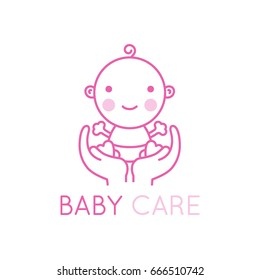 Vector logo design element and emblem - baby care and love concept - happy newborn in mother's hands - cartoon illustration - for kids store, center, packaging, clothes, company making child good