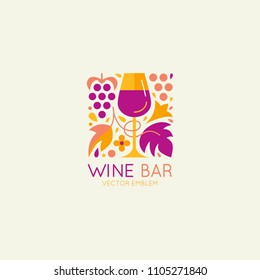 Vector logo design element and icon for wine packaging and labels - wine glass, grapes and leaves