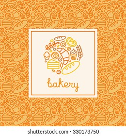 Vector logo design element made with linear icons - bakery concepts and menu covers in trendy linear style with outline icons