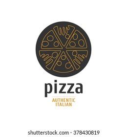 Vector logo, design element, symbol, emblem for pizza, pizzeria, pizza delivery, Italian restaurant
