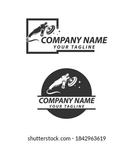 Vector logo with design elements of car detailing equipment. Can be used for automotive or detailing companies