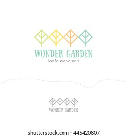 Vector logo design elements in linear style. Abstract trees and parks landscapes and nature concept of logo sample