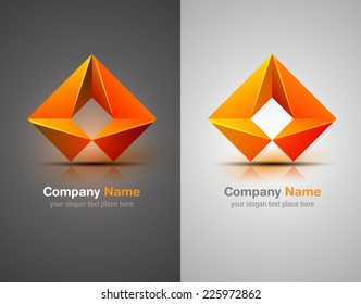 Vector logo design elements. Origami. Orange icon. Corporate identity.