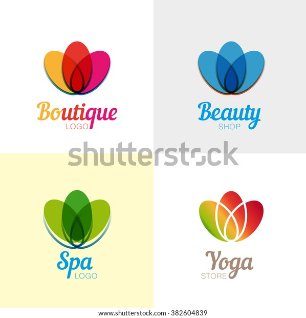 Vector Logo Design Flower Beauty Yoga Stock Vector Royalty Free 382604839