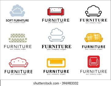 Vector logo design for furniture store. Sofa icons.