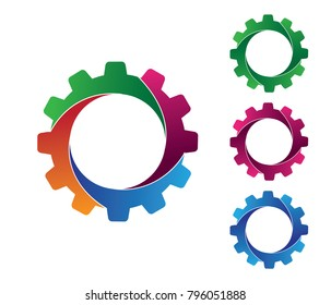 vector logo design of gear in 4 pieces with multi colors range. for multi media, machinery