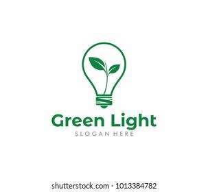 vector logo design for green energy, green light bulb idea, renewable power, future modern agriculture