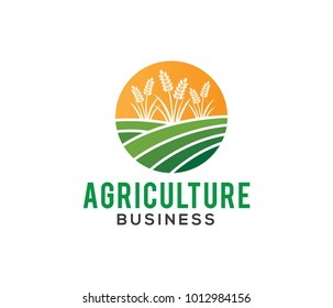 vector logo design illustration of agriculture business, tractor farm, soil farm, crop field, pasture, milk, barn,