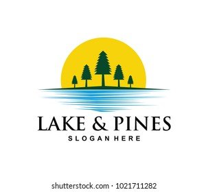vector logo design illustration of pines woods jungle in the lake side, beautiful scenery of blue and green